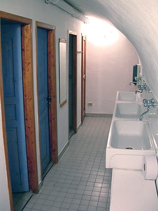 The communal bathroom for campers. Visions in the Mischtechnik